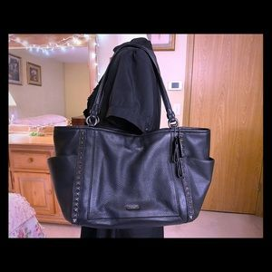 Coach Park Leather Pyramid Stud Carrie Tote